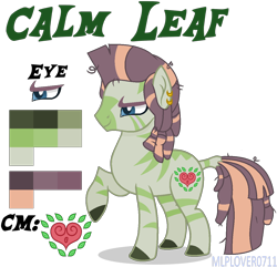 Size: 1248x1204 | Tagged: safe, artist:brenxdipity, artist:mlplover0711, oc, oc only, oc:calm leaf, hybrid, zony, base used, cutie mark, ear piercing, earring, interspecies offspring, jewelry, magical lesbian spawn, male, offspring, parent:tree hugger, parent:zecora, parents:treecora, piercing, raised hoof, reference sheet, simple background, solo, stallion, transparent background