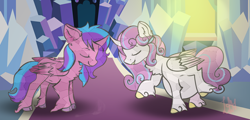 Size: 1268x608 | Tagged: safe, artist:kiwi4578, princess flurry heart, oc, oc:melody aurora, alicorn, crystal pony, pony, alicorn oc, bonding, cousins, crystallized, curved horn, duo, duo female, eyes closed, female, horn, multiple pregnancy, offspring, parent:flash sentry, parent:twilight sparkle, parents:flashlight, pregnant, raised hoof