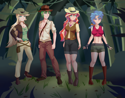 Size: 2612x2048 | Tagged: safe, artist:thebrokencog, applejack, petunia paleo, spike, sunset shimmer, human, equestria girls, anime, belly button, clothes, commission, crossover, female, fingerless gloves, gloves, hat, human spike, humanized, indiana jack, jumanji, jumanji: welcome to the jungle, jungle, male, midriff, older, older spike, pants, scenery, shoes, shorts, vest