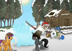 Size: 1063x752 | Tagged: safe, artist:lavenderrain24, scootaloo, twilight sparkle, oc, oc:blissful trance, oc:ebony darkness, oc:healing touch, alicorn, pegasus, pony, unicorn, campfire, chocolate, christmas, clothes, cute, female, filly, fire, food, goggles, hat, holiday, hot chocolate, ice, ice sculpture, katana, santa hat, scarf, shed, ski goggles, snow, sword, tree, twilight sparkle (alicorn), weapon, winter