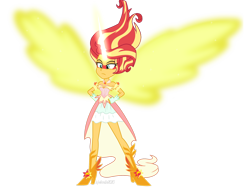 Size: 1600x1234 | Tagged: safe, artist:wubcakeva, sunset shimmer, equestria girls, friendship games, artificial wings, augmented, bare shoulders, clothes, daydream shimmer, dress, female, fingerless gloves, gloves, magic, magic wings, simple background, solo, transparent background, wings