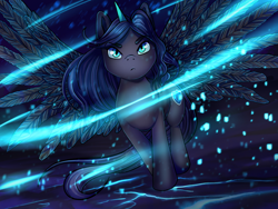 Size: 1600x1200 | Tagged: artist needed, safe, oc, oc only, oc:nyx, alicorn, pony, blue fire, epic, fire, inferno, majestic, wing spreading, wings