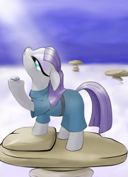 Size: 2086x2875   Tagged: safe, artist:joycat, boulder (pet), maud pie, pony, looking up, moonlight