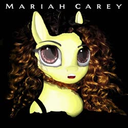 Size: 1278x1278 | Tagged: safe, oc, oc only, earth pony, pony, 1990, album, album cover, black background, blonde hair, blonde mane, curly hair, curly mane, eye open, eyeshadow, makeup, mariah carey, photoshop, red eyes, simple background, solo