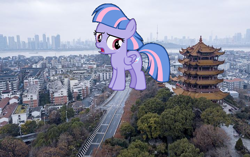 Size: 718x450 | Tagged: safe, edit, wind sprint, pony, china, female, giant pony, giantess, irl, macro, photo, wuhan