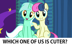 Size: 1280x800 | Tagged: safe, edit, edited screencap, screencap, bon bon, lyra heartstrings, sweetie drops, earth pony, pony, unicorn, grannies gone wild, adorabon, best friends, booth, bronybait, cute, duo, duo female, female, grin, head tilt, looking at you, lyrabetes, mare, open mouth, question, raised hoof, sitting, smiling, squee