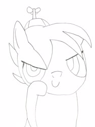 Size: 3024x4032 | Tagged: safe, artist:undeadponysoldier, button mash, earth pony, pony, buttonbetes, colt, cute, drawn with reference, hat, lineart, looking at you, male, propeller hat, solo, traditional art