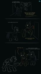 Size: 655x1166 | Tagged: safe, artist:quint-t-w, part of a set, boulder (pet), doctor whooves, maud pie, time turner, earth pony, pony, clothes, comic, crossover, dialogue, doctor who, gradient background, minimalist, modern art, necktie, old art, sharp teeth, sonic screwdriver, statue, teeth, the doctor, weeping angel, weeping pegasus
