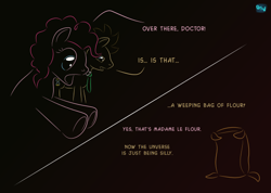 Size: 590x420   Tagged: safe, artist:quint-t-w, doctor whooves, madame leflour, pinkie pie, time turner, earth pony, pony, comic, crossover, dialogue, doctor who, flour, gradient background, minimalist, modern art, necktie, old art, part of a set, statue, weeping angel