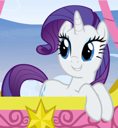 Size: 796x863 | Tagged: safe, screencap, rarity, pony, unicorn, yakity-sax, cropped, cute, female, hot air balloon, mare, raribetes, smiling, solo, twinkling balloon