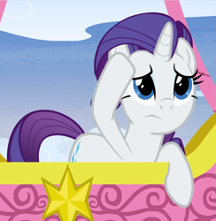 Size: 865x887 | Tagged: safe, screencap, rarity, pony, unicorn, yakity-sax, cropped, female, hot air balloon, mare, raised hoof, solo, twinkling balloon