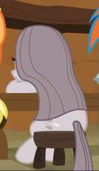 Size: 413x712 | Tagged: safe, screencap, pinkie pie, earth pony, pony, yakity-sax, cropped, depressed, female, mare, offscreen character, pinkamena diane pie, rear view, sad, sitting, solo, solo focus, table