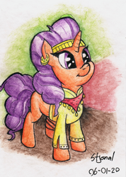 Size: 1218x1715 | Tagged: safe, artist:stjonal, saffron masala, pony, unicorn, adorkable, clothes, colorful background, curly hair, curly mane, cute, dork, ear piercing, earring, female, headband, jewelry, mare, orange coat, piercing, purple eyes, saffronbetes, scarf, shirt, signature, simple background, smiling, standing, traditional art, watercolor painting