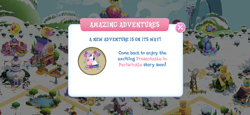 Size: 2436x1125 | Tagged: safe, bon bon, princess cadance, rarity, shining armor, sweetie belle, sweetie drops, alicorn, pony, unicorn, spoiler:comic, apple, apple tree, balloon, canterlot, carousel boutique, female, game screencap, gameloft, male, pond, shiningcadance, shipping, snow, straight, train, tree, windmill, winter