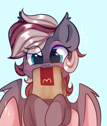 Size: 963x1131   Tagged: safe, artist:thieftea, oc, oc only, oc:efflorescence, bat pony, pony, bat pony oc, cute, female, makeup, mare, mcdonald's, mouth hold, paper bag, solo, wings