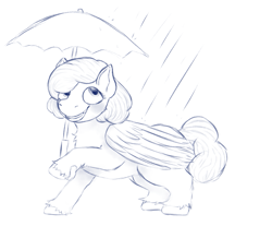 Size: 1089x951 | Tagged: safe, artist:anonymous, oc, oc only, oc:raincloud drops, pegasus, pony, /mlp/, 4chan, drawthread, lineart, monochrome, rain, raised hoof, solo, umbrella, unshorn fetlocks