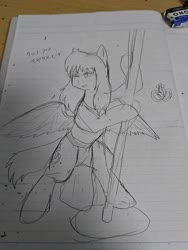 Size: 1080x1440 | Tagged: safe, artist:omegapony16, oc, oc only, pegasus, pony, bedroom eyes, bipedal, disguise, disguised changeling, eraser, female, irl, japanese, lineart, lined paper, mare, photo, solo, spread wings, stripped, stripper pole, text, traditional art, wings