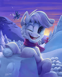 Size: 2000x2500 | Tagged: safe, artist:tsitra360, big macintosh, double diamond, night glider, sugar belle, earth pony, pegasus, pony, clothes, one eye closed, open mouth, scarf, scenery, snow, snowball, snowball fight, solo focus, underhoof
