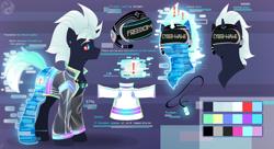 Size: 4560x2480 | Tagged: safe, artist:tigra0118, oc, oc only, oc:cyber-wave, pony, unicorn, clothes, cyberpunk, ear piercing, earring, headset, helmet, jacket, jewelry, male, pendant, piercing, reference sheet, solo, stallion, virtual reality, vr headset