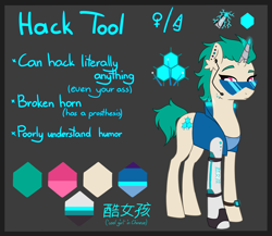 Size: 2300x2000 | Tagged: safe, artist:lambyarts, oc, oc only, oc:hack tool, cyborg, cyborg pony, pony, unicorn, amputee, broken horn, chinese, clothes, cyberpunk, ear fluff, ear piercing, earpiece, earring, female, gray background, horn, jacket, jewelry, leather jacket, mare, piercing, prosthetic horn, prosthetic limb, prosthetics, reference sheet, simple background, solo, sunglasses, tanktop, watch