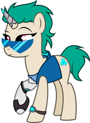 Size: 2000x2714 | Tagged: safe, artist:lambyarts, oc, oc only, oc:hack tool, cyborg, cyborg pony, pony, unicorn, amputee, broken horn, clothes, cyberpunk, ear fluff, ear piercing, earpiece, earring, female, horn, jacket, jewelry, leather jacket, mare, piercing, prosthetic horn, prosthetic limb, prosthetics, raised hoof, simple background, solo, sunglasses, tanktop, transparent background, watch