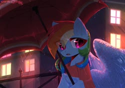 Size: 1280x905 | Tagged: safe, artist:hakkerman, rainbow dash, pegasus, pony, clothes, cute, dashabetes, eye clipping through hair, female, fence, mare, rain, scarf, solo, spread wings, umbrella, window, wings