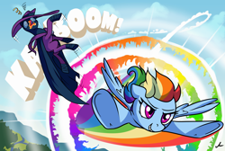Size: 10800x7245 | Tagged: safe, artist:docwario, mare do well, rainbow dash, pegasus, pony, 28 pranks later, the mysterious mare do well, absurd resolution, awesome, badass, cloud, commission, cool, epic, fast, female, flying, mare, sky, sonic rainboom, take that