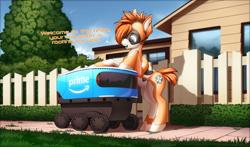 Size: 4000x2346 | Tagged: safe, artist:xn-d, oc, oc only, oc:kiva, pony, robot, robot pony, cute, fence, house, sidewalk, text
