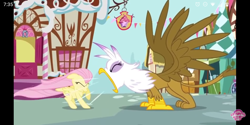 Size: 1440x720 | Tagged: safe, screencap, fluttershy, gilda, pegasus, pony, griffon the brush off, bakery, eyes closed, ponyville, screenshot failure, spread wings, watermark, wings, yelling