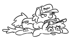 Size: 693x370 | Tagged: safe, artist:jargon scott, pony, baseball cap, black and white, cap, grayscale, hat, monochrome, north carolina, pepsi, ponies riding ponies, riding, soda, south carolina, state ponies