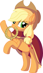 Size: 4983x8560 | Tagged: safe, artist:cyanlightning, applejack, earth pony, pony, .svg available, absurd resolution, applejack's hat, cape, clothes, cowboy hat, ear fluff, female, hat, looking at you, mare, rope, simple background, solo, transparent background, vector