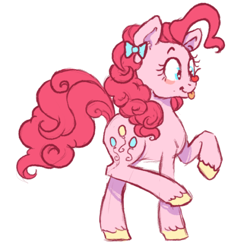 Size: 500x491 | Tagged: safe, artist:jiinglespurs, pinkie pie, earth pony, pony, :p, bow, cherry, cute, diapinkes, female, food, hair bow, looking at something, mare, ponies balancing stuff on their nose, simple background, solo, tongue out, unshorn fetlocks, white background