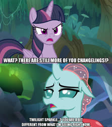 Size: 1280x1440 | Tagged: safe, edit, edited screencap, screencap, mean twilight sparkle, ocellus, changeling, pony, the mean 6, what lies beneath, caption, clone, dialogue, female, image macro, meme, text