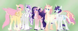 Size: 5995x2400 | Tagged: safe, alternate version, artist:clay-bae, fluttershy, rarity, oc, oc:alto, oc:meadow lark (clay-bae), oc:sweets, pegasus, pony, unicorn, alternate design, alternate hairstyle, feathered fetlocks, female, flarity, high res, lesbian, magical lesbian spawn, mare, offspring, parent:fluttershy, parent:rarity, parents:flarity, shipping, two toned wings, unshorn fetlocks, wings