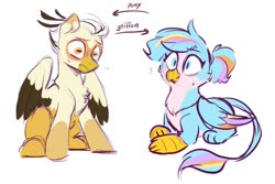 Size: 1084x723 | Tagged: safe, artist:colorfulcolor233, oc, oc only, oc:oofy colorful, oc:vistamage, griffon, pegasus, pony, duo, griffon oc, griffonized, oofymage, ponified, prone, simple background, species swap, white background, wide eyes