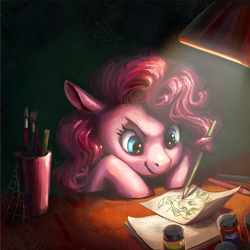 Size: 1000x1000 | Tagged: safe, artist:nemo2d, artist:weird--fish, pinkie pie, earth pony, pony, collaboration, drawing, female, mare, pencil, prehensile mane, recursion, solo
