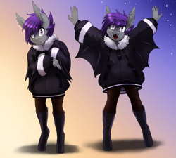Size: 1443x1300 | Tagged: safe, artist:replica, oc, oc only, oc:nolegs, anthro, bat pony, unguligrade anthro, adorkable, anthro oc, bat pony oc, boots, clothes, coat, cute, dork, ear fluff, fangs, female, mare, shoes, wings