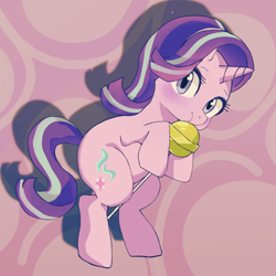 Size: 1378x1378 | Tagged: safe, artist:doran, starlight glimmer, pony, unicorn, candy, cute, eating, female, food, glimmerbetes, lollipop, looking at you, mare, solo