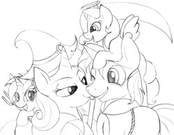 Size: 1019x789 | Tagged: safe, artist:blazelupine, trixie, oc, oc:pickles, oc:pixie, oc:stardust, pony, unicorn, adopted offspring, canon x oc, clothes, costume, family, female, filly, halloween, hat, holiday, male, monochrome, nightmare night, offspring, one eye closed, parent:oc:pickles, parent:trixie, parents:canon x oc, parents:trikles, shipping, simple background, smiling, straight, tongue out, traditional art, trikles, white background
