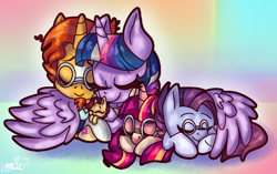 Size: 1080x679 | Tagged: safe, artist:awoomarblesoda, sunburst, twilight sparkle, oc, oc:dawn light, oc:sunbeam, oc:tarot spell, alicorn, pony, female, filly, glasses, hug, male, offspring, parent:sunburst, parent:twilight sparkle, parents:twiburst, prone, shipping, straight, twiburst, twilight sparkle (alicorn), winghug