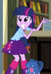 Size: 522x758 | Tagged: safe, screencap, twilight sparkle, alicorn, equestria girls, equestria girls (movie), backpack, clothes, cropped, female, skirt, smiling, twilight sparkle (alicorn)