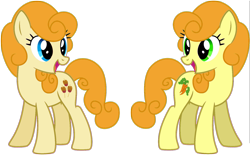 Size: 1649x1029 | Tagged: safe, artist:abealy2, caramel apple, carrot top, golden harvest, earth pony, pony, comparison, duo, female, looking at each other, mare, simple background, transparent background, wrong eye color