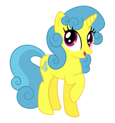 Size: 565x606 | Tagged: safe, alternate version, artist:abealy2, lemon hearts, pony, unicorn, alternate hairstyle, cute, female, lemonbetes, looking at you, mare, raised hoof, simple background, solo, transparent background, weapons-grade cute