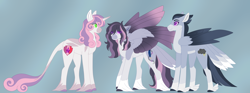 Size: 6688x2500 | Tagged: safe, artist:clay-bae, rumble, sweetie belle, oc, oc:silver lining (clay-bae), pegasus, pony, alternate design, feathered fetlocks, female, high res, male, mare, offspring, parent:rumble, parent:sweetie belle, parents:rumbelle, rumbelle, shipping, straight, tail feathers, unshorn fetlocks