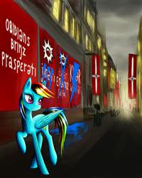 Size: 1200x1500 | Tagged: safe, artist:asimos, rainbow dash, flag, graffiti, rebel, street