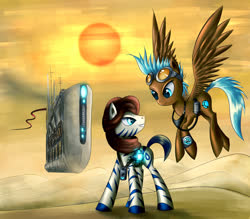 Size: 1600x1400 | Tagged: safe, artist:asimos, oc, oc only, pony, zebra, clothes, desert, duo, goggles, ship, sun
