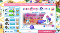 Size: 1287x725 | Tagged: safe, 8-bit (character), azure velour, flashdancer, gaffer, gizmo, pinkie pie, princess cadance, rarity, shining armor, gameloft, limited time story, magic coins, you had one job