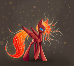 Size: 1800x1600 | Tagged: safe, artist:asimos, oc, oc only, pegasus, pony, fiery mane, mane of fire, solo