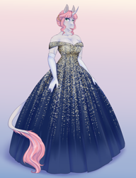 Size: 2376x3096 | Tagged: safe, artist:askbubblelee, oc, oc only, oc:rosie quartz, anthro, unguligrade anthro, unicorn, anthro oc, ballgown, barrette, beautiful, big breasts, blushing, breasts, cleavage, clothes, curved horn, digital art, dress, evening gloves, fancy, female, gloves, gradient background, horn, leonine tail, lips, long gloves, mare, nervous, scar, solo, sweat