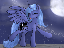 Size: 1600x1200 | Tagged: safe, artist:kalashnikitty, princess luna, alicorn, pony, :p, cloud, cute, dancing, eyes closed, female, looking back, lunabetes, mare, moon, night, night sky, night sky background, s1 luna, sky, solo, someone boop this pony, spread wings, stars, tongue out, wings